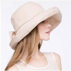 Beige roll brim bucket hat with bow for women UV protection sun hats 5271e70c3d0b