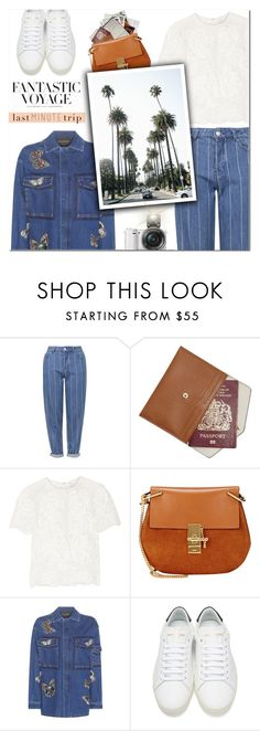 """""""Last Minute Trip : Los Angeles"""" by vampirella24 ❤ liked on Polyvore featuring Topshop, MICHAEL Michael Kors, Marchesa, Chloé, Valentino, Yves Saint Laurent, H&M and Sony"""