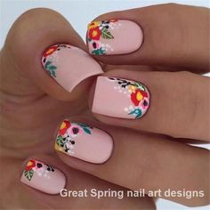 37 Spring Elegant Sqaure Matte Nails Design Ideas Matte nails are easy to polish, you don't have to be an artist or do complex designs to make beautiful nail art. 37 Spring Elegant Sqaure Matte Nails that you need to see. Spring Nail Art, Nail Designs Spring, Spring Nails, Nail Art Designs, Nails Design, Flower Nail Designs, Party Nail Design, Spring Makeup, Matte Nails