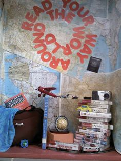 read your way around the world - good reading display! School Library Displays, Middle School Libraries, Library Themes, Teen Library, Elementary Library, Classroom Displays, Classroom Themes, Library Decorations, Library Ideas