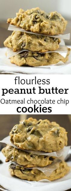 Flourless Peanut Butter Peanut Butter Oatmeal Chocolate Chip Cookies (Gluten Free) (desserts with oats ovens) Gluten Free Chocolate Chip Cookies, Oatmeal Chocolate Chip Cookies, Gluten Free Cookies, Gluten Free Baking, Gluten Free Desserts, Paleo Dessert, Delicious Desserts, Yummy Food, Flourless Oatmeal Cookies