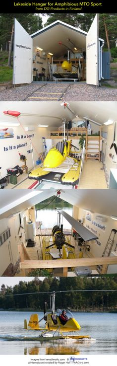 A lakeside hangar for an amphibious MTO Sport Autogyro. From DG Product, the Autogyro distributor in Finland. http://kevytilmailu.com