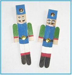 Popsicle stick nutcracker xmas ornament, crafts for kids. also more homemade ideas