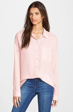 Frenchi® Spread Collar Shirt (Juniors) | Nordstrom