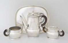 William Spratling Sterling Silver and Rosewood Tea Set with Tray 2