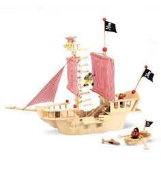 Seven Seas Plywood Pirate Ship by Estia Holzspielwaren. $159.00. Made of durable plywood. Has authentic features and realistic details. Has removable pieces for easy storage. Shiver me timbers! Young pirates can have their very own pirate ship that's as magnificent as any to ever sail the seven seas. The Seven Seas Plywood Pirate Ship has several authentic features- a steering wheel that really turns, a crow's nest with a rope ladder, large red-and-white-striped cloth sails, a s...
