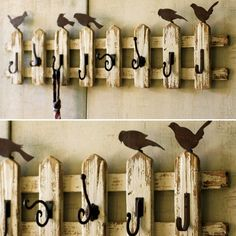 Cute idea for my picket fence shelf.  Do hooks on bottom. And keep Ahelf on top.