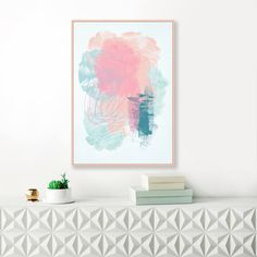 Blue and Pink Abstract Art, Large Abstract Painting, Modern Printable Wall Art, Original Wall Art, Instant Download Nursery Painting by InspirationAbstracts on Etsy