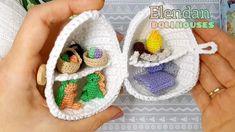 Miniature house with tiny dinos, baskets, camp fir Kawaii Crochet, Cute Crochet, Crochet Crafts, Yarn Crafts, Crochet Projects, Crochet Fairy, Crochet Dolls, Easter Crochet Patterns, Amigurumi Patterns
