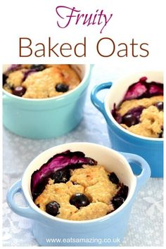 Fruity Yogurt Baked Oats Recipe These easy fruity baked oats have just 4 ingredients – a delicious and simple breakfast idea for kids and adults too – the perfect warmer for chilly mornings Baked Oatmeal Recipes, Oats Recipes, Snack Recipes, Recipes Dinner, Soup Recipes, Cooking Recipes, Cooking With Kids Easy, Baking With Kids, Baked Oats Slimming World