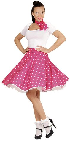 015c8a62c0 Falda de lunares años 50 color rosa Disfraces De Vaselina