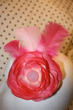 20% off til the 23rd! Coupon Code: PolkaDot20  Pink Ranunculus Hair Fascinator Pink button by PolkaDotThreads, $15.00