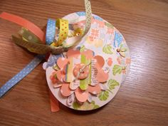 Peach and Blue Premade Flower Mini Scrapbook by HampshireRose, $20.00