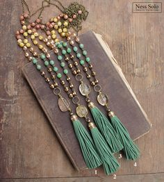 Green tassel necklace Beaded boho necklace Bohemian jewelry