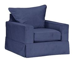 "PB Comfort Square Arm Slipcovered Armchair 37.5"", Knife Edge Down Blend Wrapped Cushions, Linen Blend Peacoat Navy"