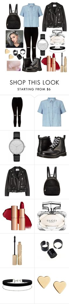 """""""tenue swag"""" by lucielecuyer ❤ liked on Polyvore featuring New Look, Miss Selfridge, Skagen, Dr. Martens, Acne Studios, STELLA McCARTNEY, Gucci, Stila and Lipsy"""