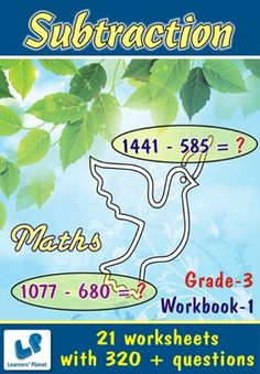 GRADE-3-MATH-SUBTRACTION-WORKBOOK-1 This workbook contains printable worksheets on Subtraction for grade-3 students.  There are total-21 worksheets with 320 + questions.  Pattern of questions : Horizontal Subtraction with picture.    PRICE :- RS.149.00