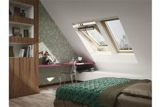 Velux roof window ggl comfort from the cold, heat and provide laminated glazing safety. Home Bedroom, Kids Bedroom, Bedroom Ideas, Roof Window, Loft Spaces, Pool Houses, Beautiful Bedrooms, Home Improvement, New Homes