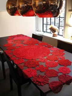 Have lots of doilies from gramma - considering sewing together to make a runner/table cloth!