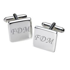 Script Initial Cufflinks - Square. Choose your dad's initials to be engraved into each cufflink. Perfect for #FathersDay and for every special occasion after! #FathersDayGifts #GiftsForDad #PersonalisedCufflinks #PersonalisedGifts £19.99