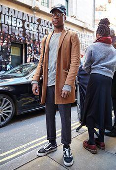 man at london fashion week in cool street style