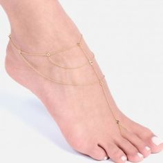 Gorjana toe to ankle chain Beautiful anklet! 18k gold plated brass. Brand new with tags (never worn). Gorjana Jewelry