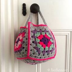 #crochet granny square basket by @bechancer from 100+ Inspiring Crochet Photos