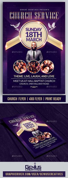 #Church Service #Flyer Template - Church Flyers Download here: https://graphicriver.net/item/church-service-flyer-template/20394758?ref=alena994