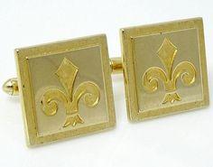 Nice classic design. Vintage Swank Goldtone Cufflinks with Fleur-de-lis #thetiechest