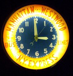 Vintage Glo-Dial Neon Advertising Clock Manhattan - Westwood Bus Lines NY Express