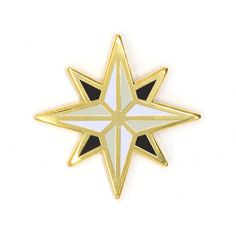 True north Gold pin with colored enamel Rubber backing Measures wide Last Exile, Compass Rose, True North, Pastel Floral, Pin And Patches, Hopeless Romantic, Fire Emblem, Etsy, Enamel