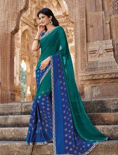 Daily Wear Green Georgette Lace Border Work Saree