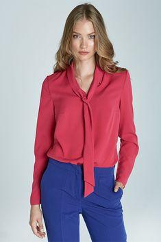 38f620d7af83c Chemisier haut femme rose léger col cravate élégant NIFE B59 Taille 42