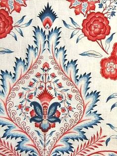 The fabric I purchased to reupholster my Ethan Allen bedroom chair and ottoman, Isham Indienne Porcelain Medallion fabric. Vintage Flowers Wallpaper, Fabric Wallpaper, Pattern Wallpaper, Textiles, Textile Patterns, Print Patterns, Orange Fabric, Red Fabric, Arabesque