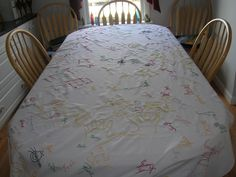 Really cool idea!! Maybe make a birthday table cloth for each kid with their hand prints that year! :)