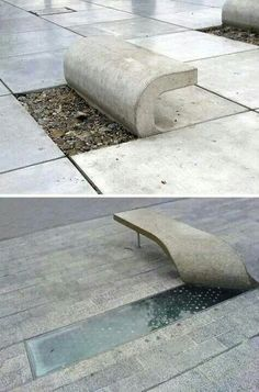 clever ideas for benches and great craftsmanship with the concrete