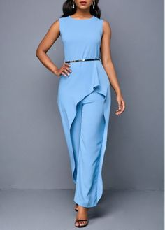 c43420b707b Zipper Back Sleeveless Round Neck Belted Jumpsuit. Blue JumpsuitsBlue ...
