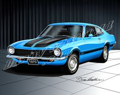 1970 FORD MAVERICK GRABBER- Grabber Blue. My first car. Handed down from my big bro. It even had AC & an 8-track player.
