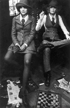 BIBA fashion vintage style 70s tweed pants suit vest jacket tie women shoes hat photo print ad models magazine