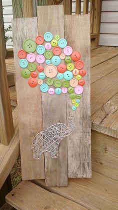 Elephant button balloon string art