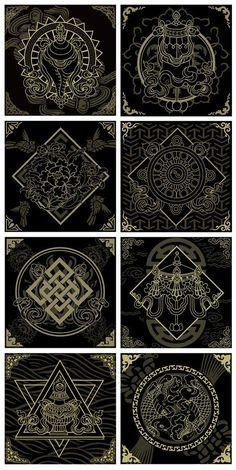 35 Ideas Tattoo Designs Mandala Symbols For 2019 Mandala Symbols, Sacred Geometry Symbols, Geometry Art, Sacred Geometry Tattoo, Zentangle, Chinese Patterns, Art Asiatique, Magic Symbols, Tibetan Art