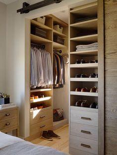 Nice closet; lighter wood
