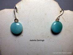 Teal Color Jadeite Earrings