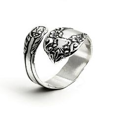.925 Sterling Silver Floral Spoon Ring. Adjustable Size *** Want to know more, click on the image.