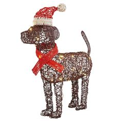 Take a bite out of your outdoor holiday decorating to-do list with our cute pre-lit puppy. He features eight fun light functions, a hand-woven design and a sweet Santa hat and scarf, making him a festive addition to your yard.
