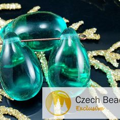 Large Turquoise Green Crystal Czech Glass Teardrop Beads Focal Pendant Bohemian 23mm x 14mm 4pcs