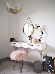 Vintage Dressing Scandinavian Dressing Table Featuring The Perfect Mongolian Sheepskin Stool Room, Scandinavian Dressing Tables, Makeup Table Vanity, Dressing Table Decor, Home Decor, Room Inspiration, Room Decor, Bedroom Decor, Trendy Bedroom