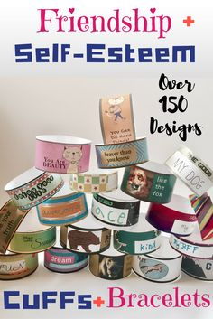 Friendship Bracelets and Self-Esteem Cuffs.  Fun for counseling friendship groups. Positive Affirmation gift students can wear!