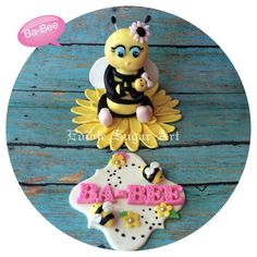 BUMBLE BEE BABY Shower ba-bee Shower Cake Topper by EdibleSugarArt