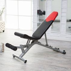 BOWFLEX 4.1 BENCH. Heavy-duty commercial quality steel. Adjusts to 5 different positions. 17 decline to 90 incline. Perform over 30 exercises. Wheels away for easy storage. .